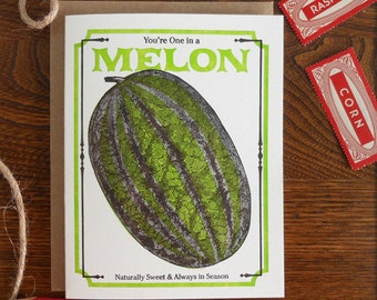 letterpress you're one in a melon greeting card farmers market vegan vegetarian vintage watermelon seed packet naturally sweet in season