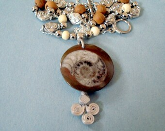 Moroccan Ammonite Fossil Pendant on Vintage Turkish Twirl Design Backing, Glass, Wood and Metal Beads, Chain Necklace