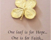 SALE - LUCKY Real Four Leaf Clover Pin Dipped in Shimmering 24 k Gold