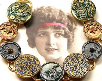 "1800s BUTTON bracelet, Victorian BIRD & water wheels on gold 7.75"" Antique button jewellery."