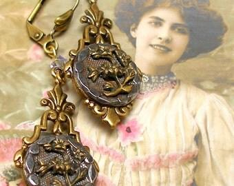 1800s BUTTON earrings, Victorian flowers in steel cups. Antique button jewellery.