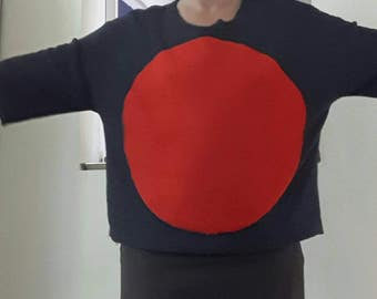 Blue and red cotton sweatshirt
