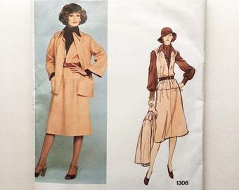 Vintage Galitzine Sewing Pattern 1970s Vogue Designer Original 1308 Jacket Jumper Blouse Scarf 34 Bust Size 12 Vintage 70s