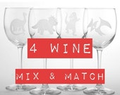BLACK FRIDAY SALE - 4 Wine Glasses - Mix and Match