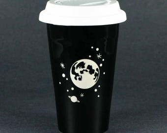 Full Moon and Stars Travel Mug - insulated lidded coffee cup