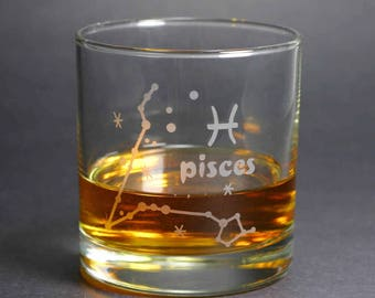 Pisces Zodiac Constellation lowball glass