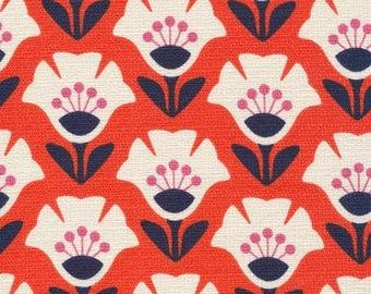 Jessica Jones for Cloud 9 ORGANIC FABRIC - Holding Pattern Barkcloth - Garden Variety - Orange