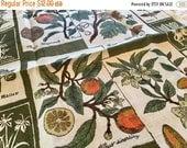 BIG SALE - Vintage Linen Towel - Herbs Botanicals Linen - Drying Towel - Green Orange Naturalist Notebook