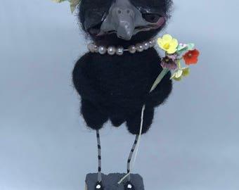 Betty the sweet black bird Ooak   art doll