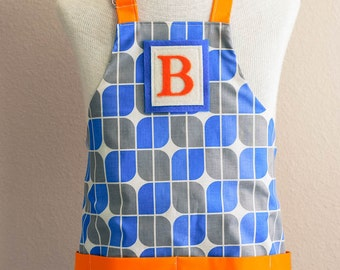 Kids Apron / Toddler Ages 2-6 Personalized Letter  - Blue Mirrah Leaf Reversible Apron with Pockets
