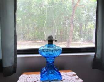 Imperial Glass Blue Oil Lamp Or Kerosene Lamp