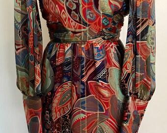 Colorful Vintage 100% silk 1970's dress