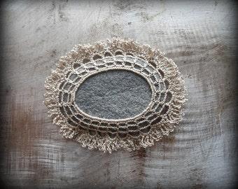 Crochet Lace Stone, Fringe, Table Decoration, Home Decor, Nature, Handmade, Unique, Small, Gray Stone, Monicaj