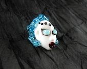 Miss Blue Hair Lady...Handmade Lampwork Focal Head Bead...Ladies of the Flame..SRA