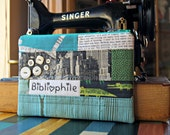 Bibliophile - WORD Pouch - Hand Embroidered - Patchwork