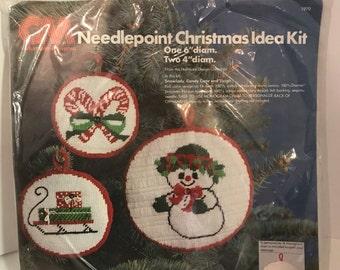 Christmas Needlepoint Kit - Makes 3 Ornaments by Columbia Minerva 1978 Hallmark Cards Kit