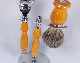 Handcrafted Shaving Set designed for Fusion/M3/Safety Razor with Stand using exotic wood and Military Pin