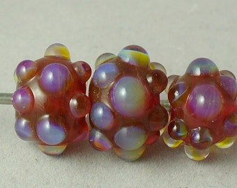 SRA Lampwork Glass Beads Handmade by Catalinaglass Opal Raspberry