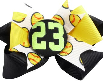 Softball Glitter Hair Bow / Hairbow/ Baseball / black yellow /any colors- Number Custom , Personalized, bow colors, monogram numer