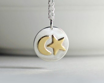 Crescent Moon Star Necklace Sterling Silver Brass Celestial Necklace Soldered Pendant Star and Moon Charm Yoga Necklace Boho