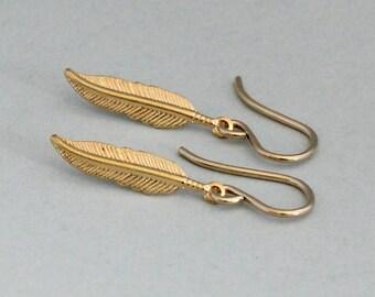 Gold Feather Earrings Boho Yoga Earrings Dainty Gold Earrings 14K Gold Fill Modern Minimal Jewelry Nature Jewelry Girlfriend Gift