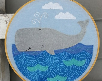 Whale Art,Whale Hoop Art,Whale,Embroidery Whale Art,Nursery Art,Nautical Art,Sea Animals Nursery Decor,Baby Room,Ocean,Sea,Whale Lover Gift