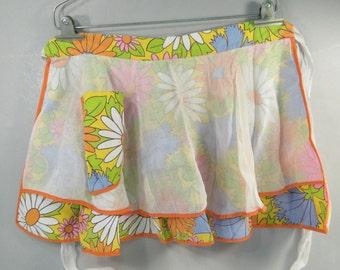 Vintage 1960s half apron, daisy apron, flower power, colorful, double apron, pocket apron, mid century modern, apron with pocket, kitsch