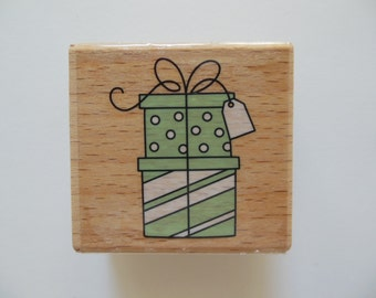 Gift Box Stamp - Presents Stamp - Wood Mounted Rubber Stamp