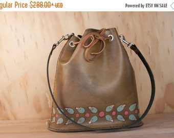 JANUARY SALE Leather Drawstring Tote Bag - Handmade Bucket Bag in the Petal pattern with flowers and leaves in pink, sage and antique brown