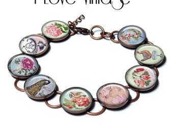 I Love Vintage, bracelet,original art, gift box,pastels,flowers, birds, ballet, peacock,vintage images, photo bracelet, custom jewelry