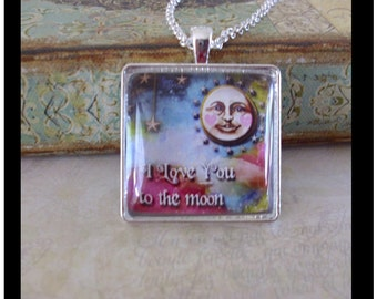 I Love You To The Moon,  original art pendants, gift boxed and READY to SHIP, Valentine's Day gifts, Valentine's Day jewelry, love, romance