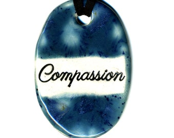 Compassion Ceramic Necklace in Blue