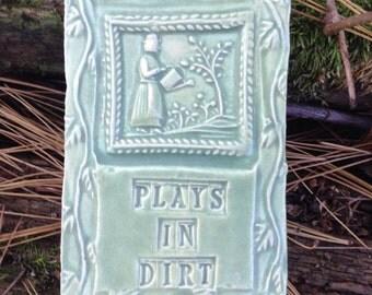 Plays In Dirt Gardener Art Tile