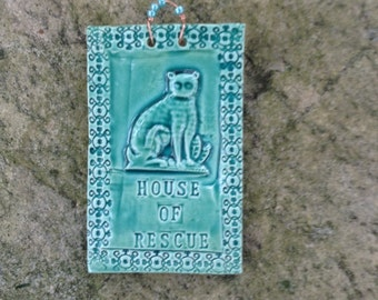 House of Rescue Cat Tile In Turquoise