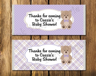 Printable Lavender Teddy Bear Baby Shower Large Candy Bar Wrappers
