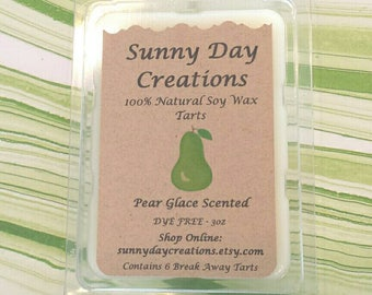 Pear Glace Scented 100% Natural Soy Wax Break Away Tarts 3 oz