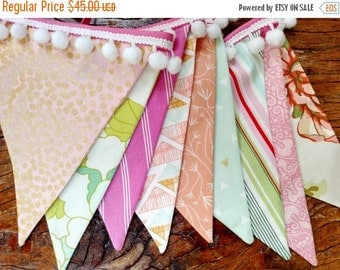 Entire Shop On SALE Designer's Choice with Pompoms, Mint, Pink, Peach Fabric Bunting Flag Banner, Garland Bunting. Designer Fabrics, Wedding