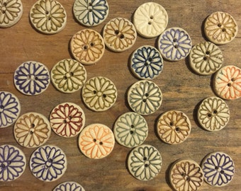 FREE SHIPPING Set of 29 Handmade Mini Ceramic Buttons - Flowers