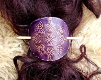 XLarge leather barrette with stick, Purple, Cross, Celtic.