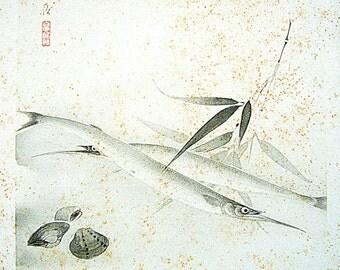 Vintage Japanese Print - Vintage Magazine Insert - Magazine Cut Out - Traditional Japanese - Japanese Vintage - Fish Bamboo Leaf