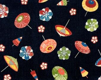 Japanese Fabric - Cotton Fabric -  1 Yard - Dark Blue Fabric - Plum  Blossoms - Umbrellas  - Parasols Fabric - 110 cm x 100 cm (F22-P17)
