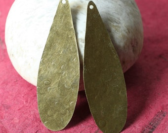Hand hammered antique brass large drop pendant dangle 56x18mm, 2 pcs (item ID XW02731ABD)