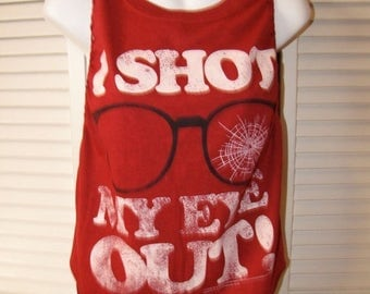 Clearance items 70% off - clearance items 70 Percent off - maroon classic 80s movie A CHRISTMAS Story I shot my eye out shredded cut up t sh