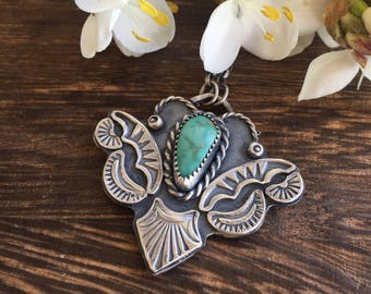Strange creatures.... campitos turquoise handmade sterling silver necklace. Handstamped jewellery.