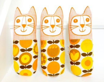 New Scandi Swedish yellow 70s Fabric Toy Cat by Jane Foster - screen printed face  - original design