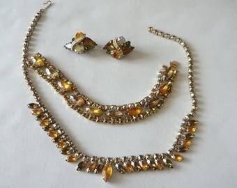 Vintage 50s Rhinestone Necklace Bracelet Earrings / Prongset AMBER STONES Jewelry Set / Demi Parure Choker Clip Earring Yellow Glass Gems