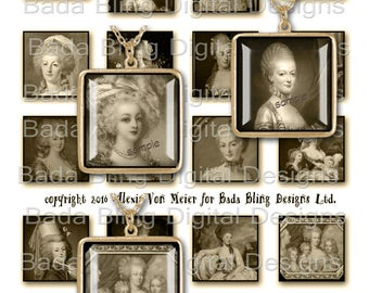 "1 1/2"" sq.  Marie Antoinette, Before The Fall, sepia...INSTANT Download, sepia collage sheets for jewelry, Marie Antoinette collage sheets"