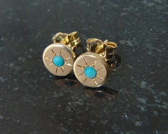 Starry -Eyed turquoise post earrings goldfill