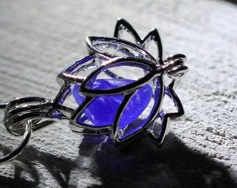 Lotus Necklace - Sea Glass Locket  - Blue sea glass - Gift for her - Lotus Locket - Real sea glass jewelry - Beach glass - Gift beach lover