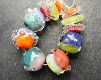 CrazyCatGlass Lampwork Boro Glass Beads Handmade Tutti Frutti Dew Drop Rounds